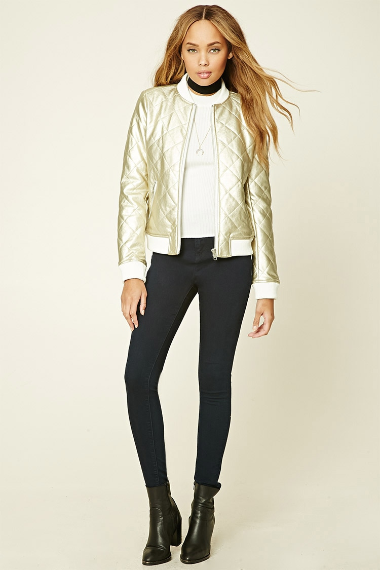 Forever 21 Metallic Quilted Bomber Jacket In Metallic Lyst