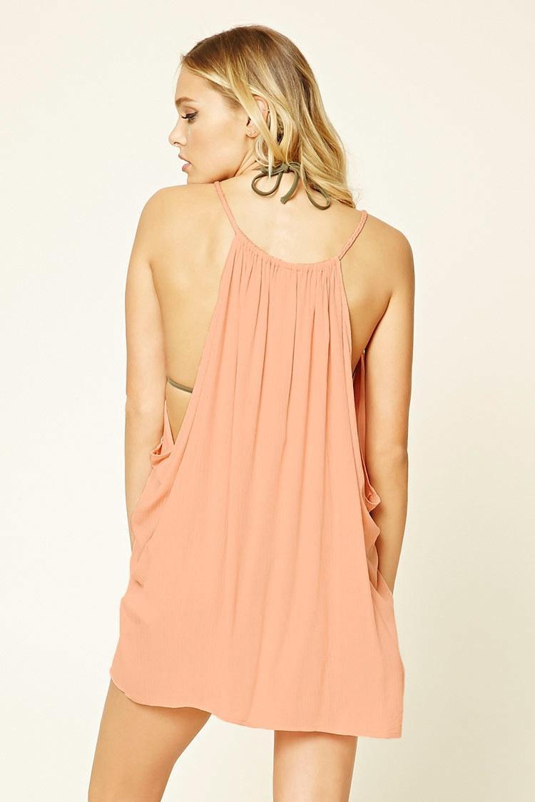 Forever 21 Drawstring Swim Cover Up Dress In Orange Lyst