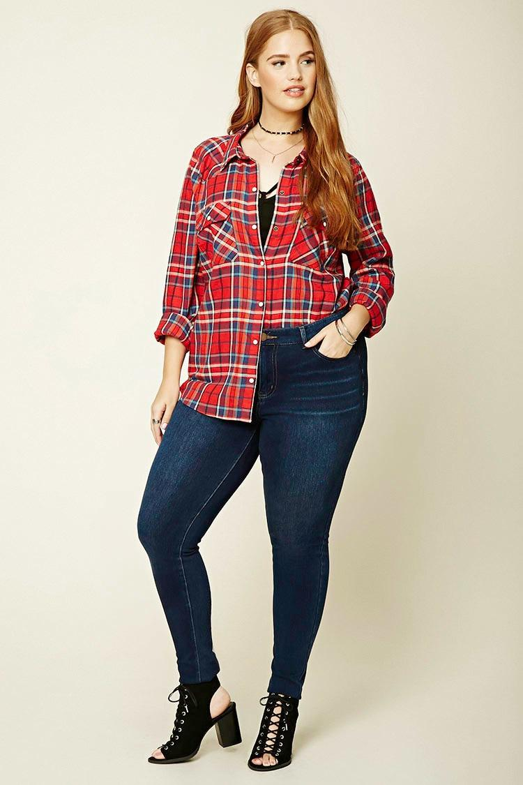 Forever 21 Plus Size Check Shirt in Red