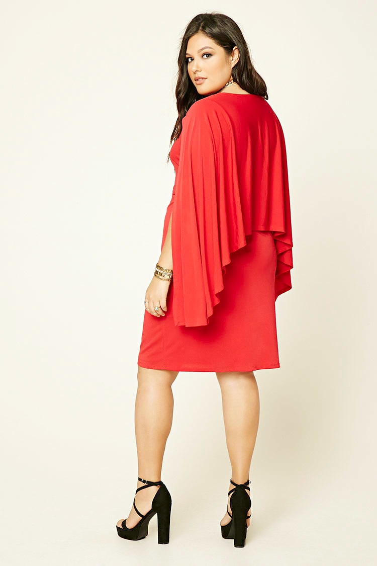 Lyst Forever 21 Plus Size Cape Sleeve Dress In Red