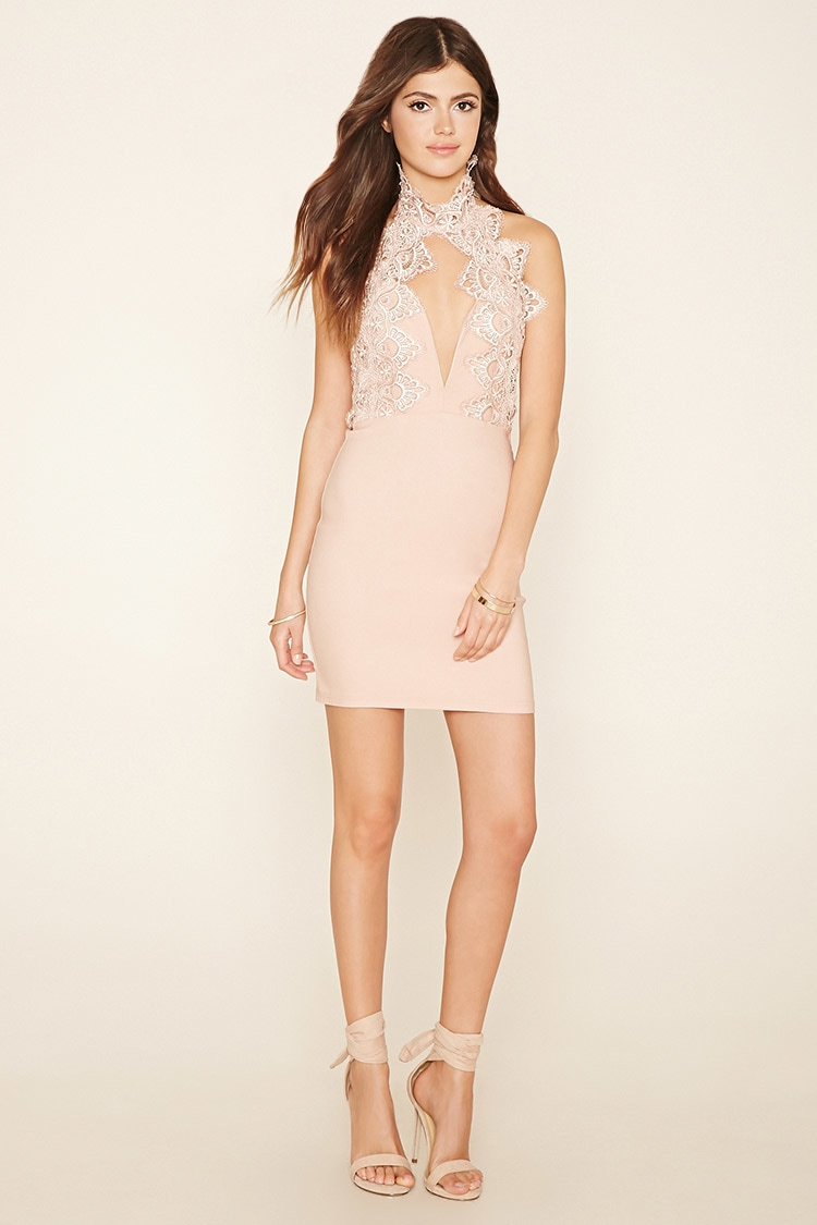 Lyst Forever 21 Rare London Cutout Halter Dress In Pink