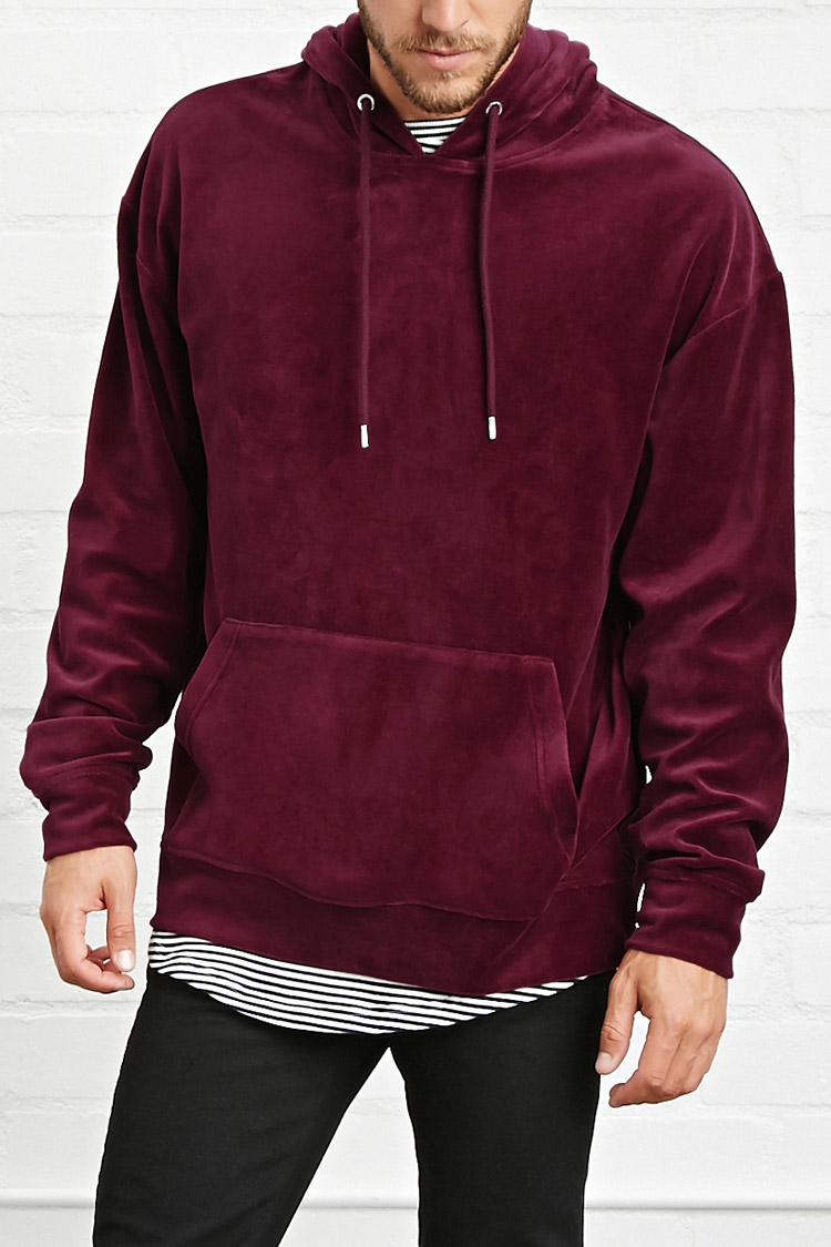 Forever 21 Velour Hoodie in Red for Men | Lyst