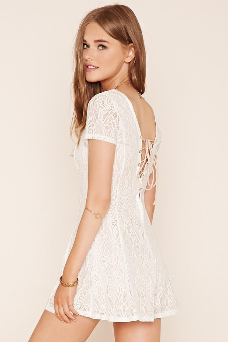 Lyst - Forever 21 Ornate Lace Romper in White