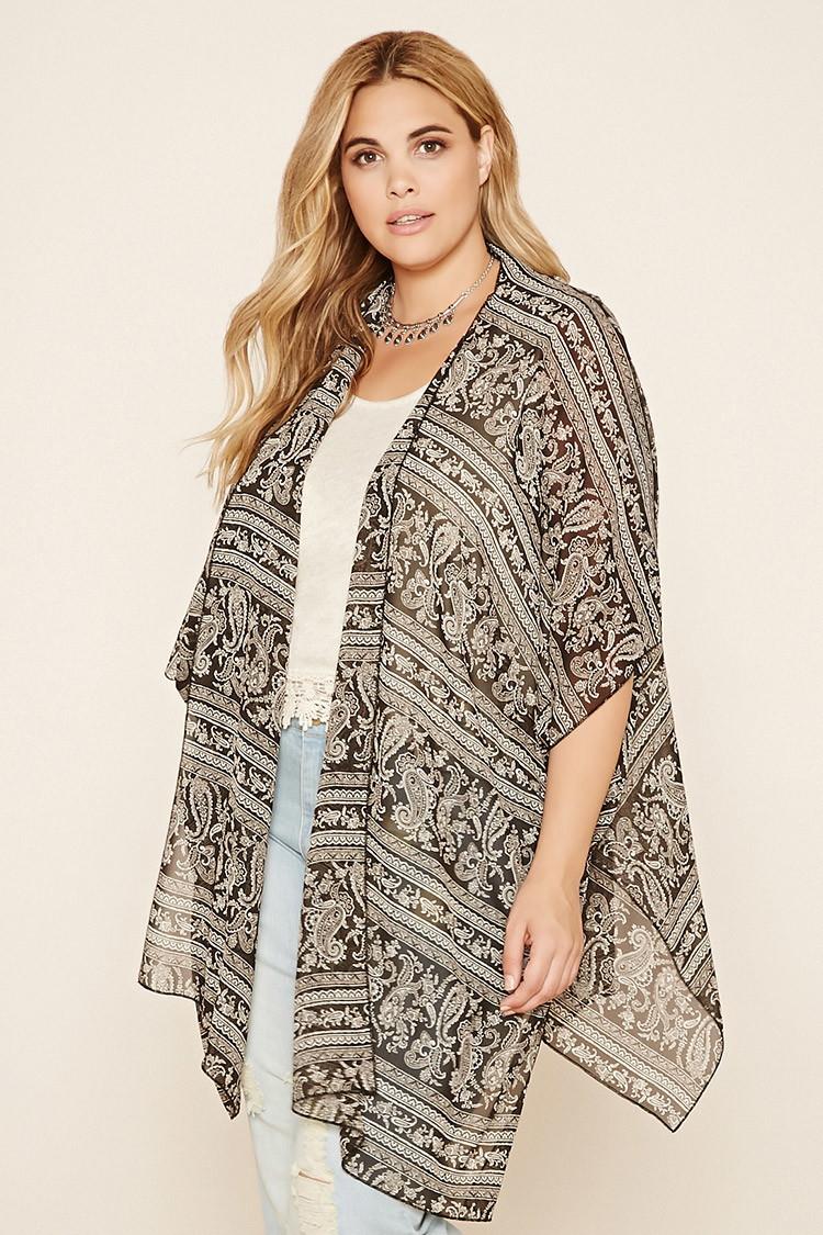 Forever 21 Plus Size Paisley Kimono in Black | Lyst
