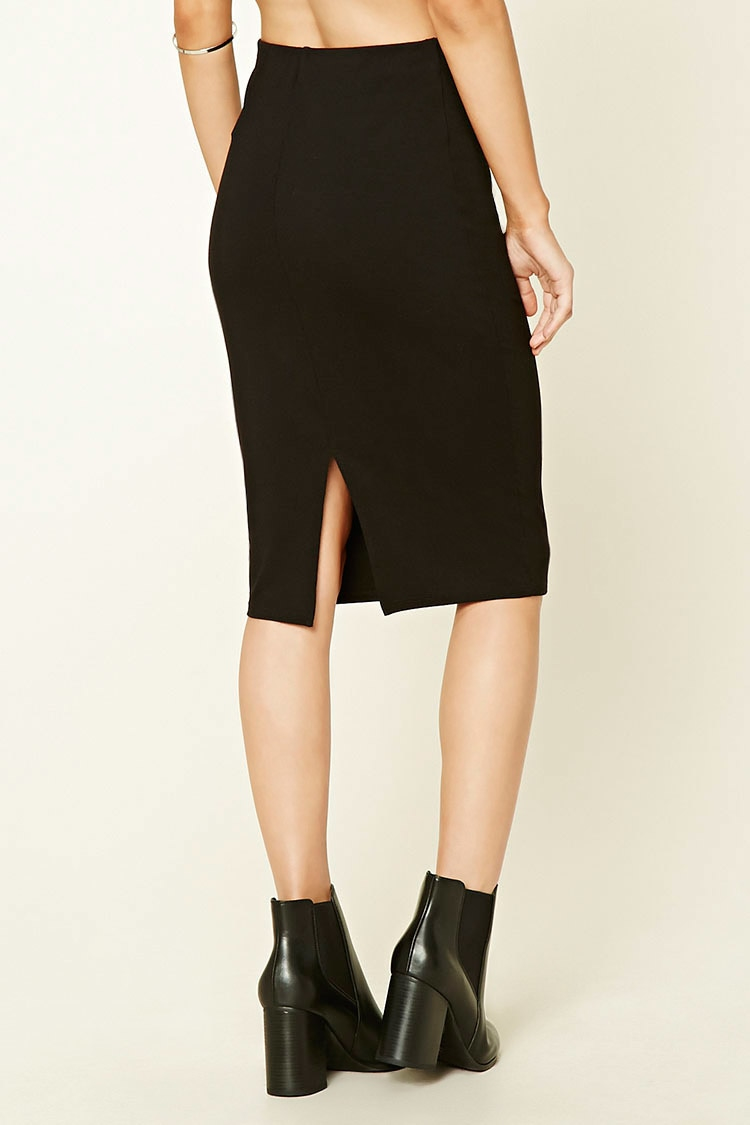 forever 21 stretch knit pencil skirt in black lyst