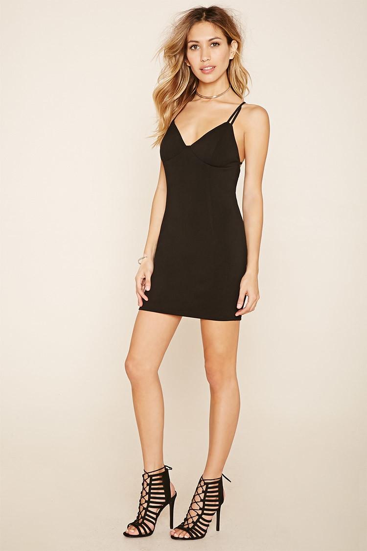 Forever 21 Strappy-back Bodycon Mini Dress in Black | Lyst - photo #1