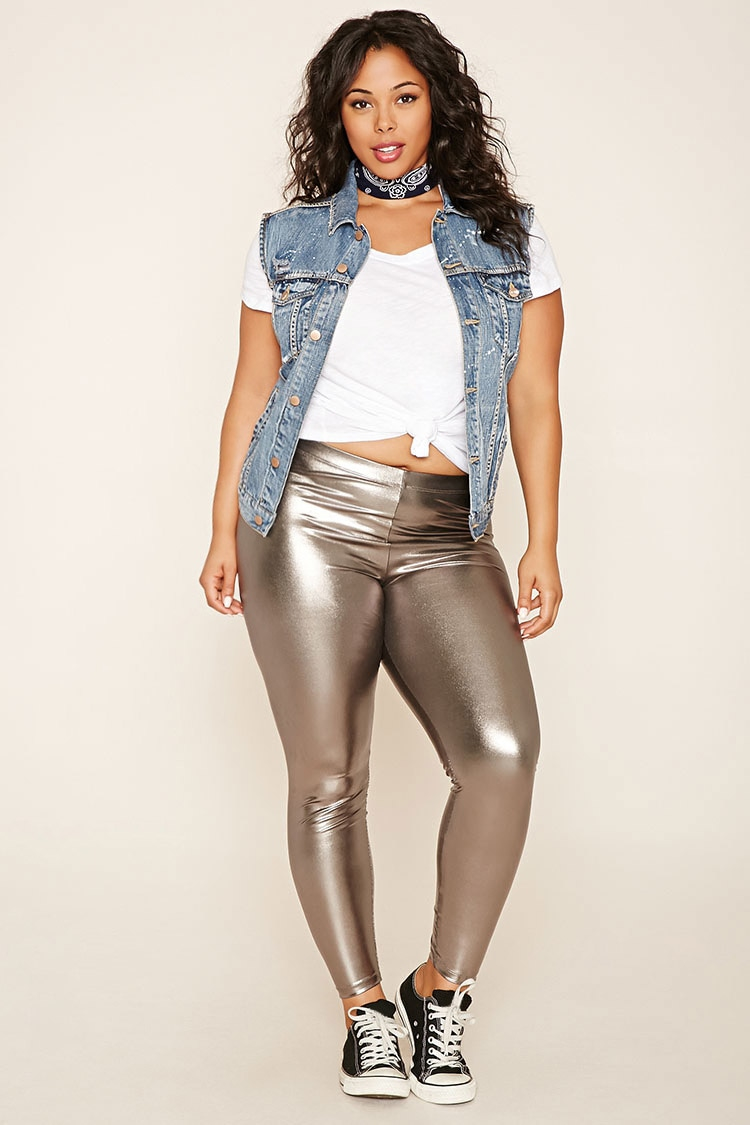 Plus size leather pants in sizes 12, 14, 16, 18, 20, 22, 24, 26, 28 Fit and Fashion Notes: These stylish leather jeggings are season-spanning and give you a super-comfortable fit with an elastic waist and back ponté knit panels for easy stretch.