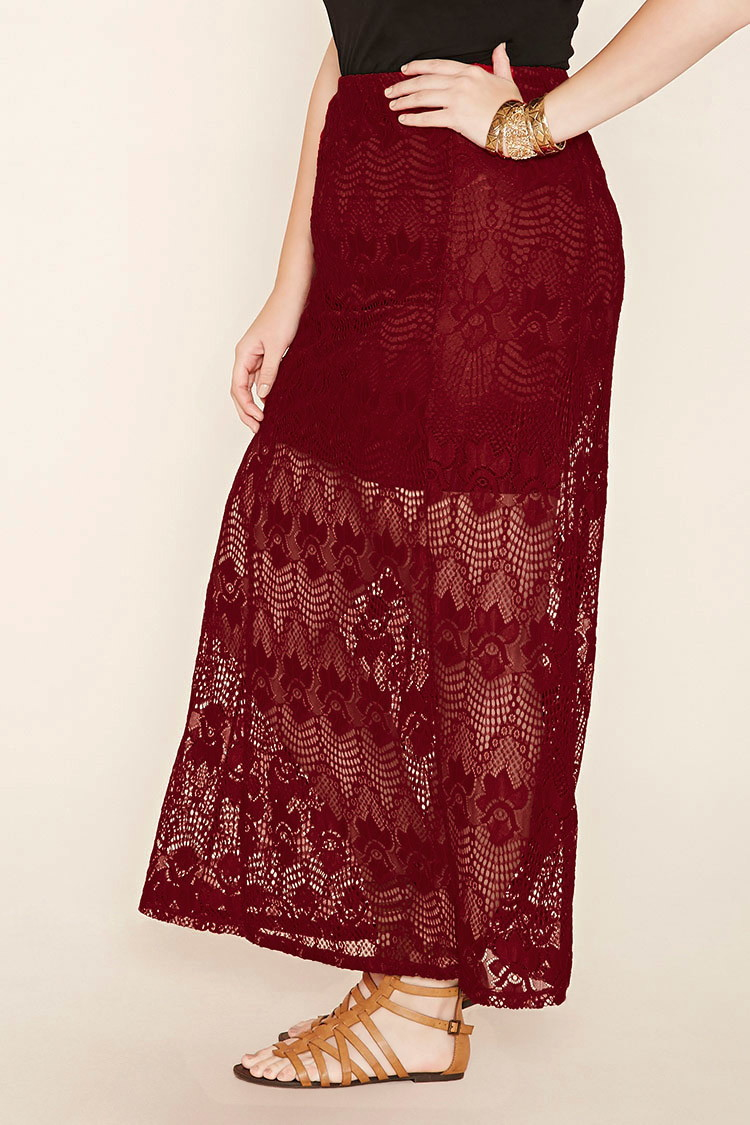 forever 21 plus size lace maxi skirt in lyst
