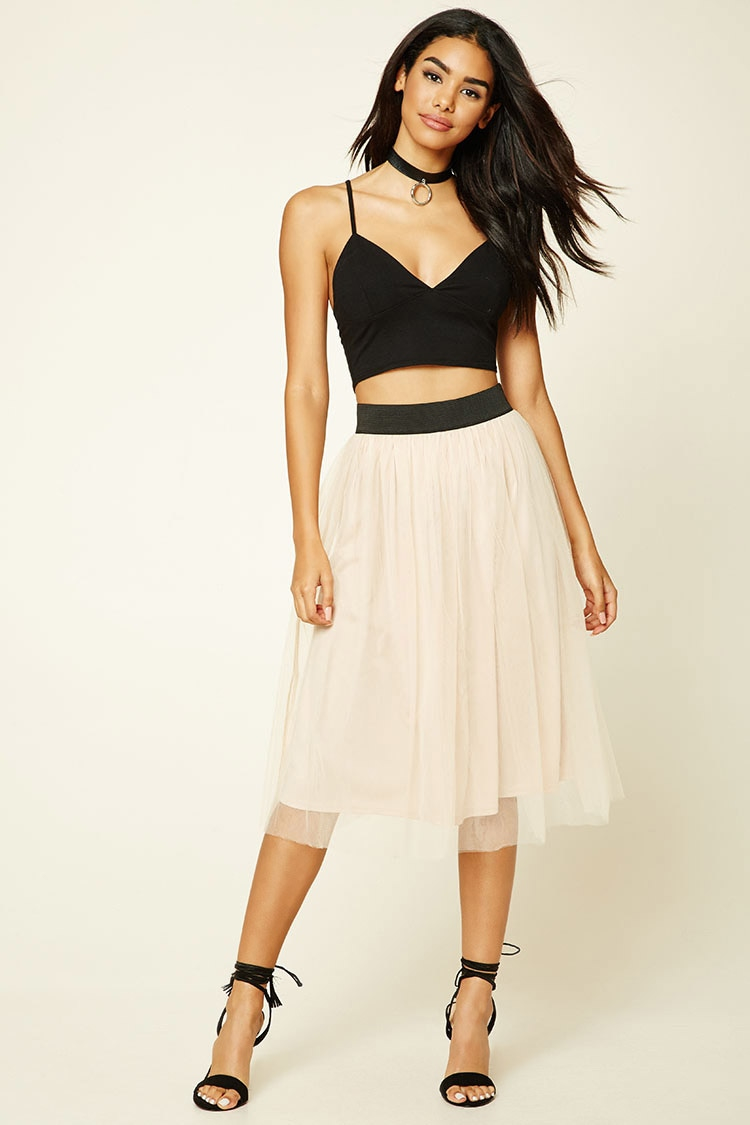 Forever 21 Plus Size Tulle A-line Skirt in Natural