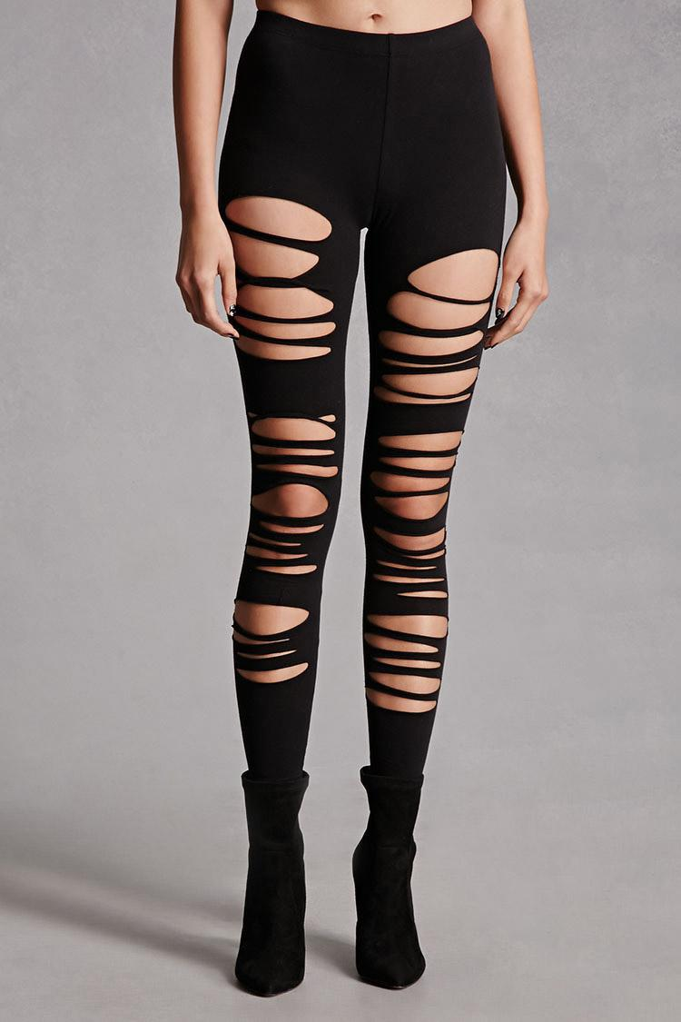 Forever 21 Ripped Leggings in Black | Lyst