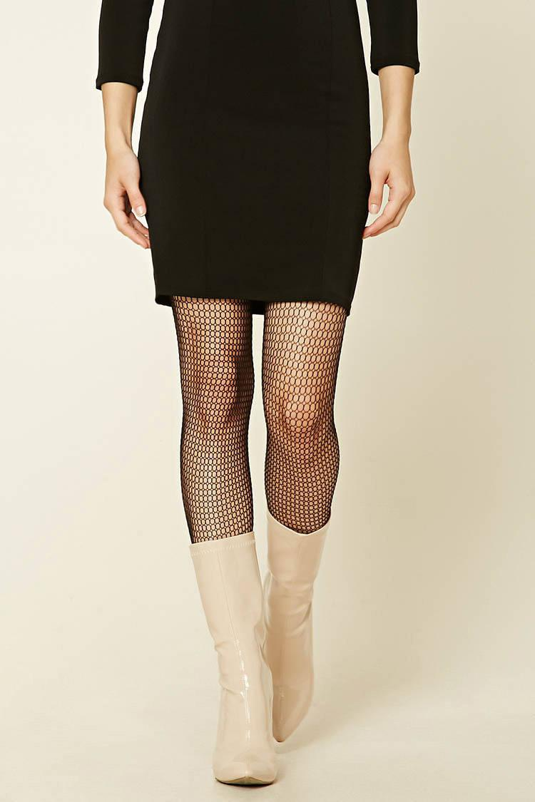 d2b5b2bf261a4 Lyst - Forever 21 Sheer Fishnet Tights in Black
