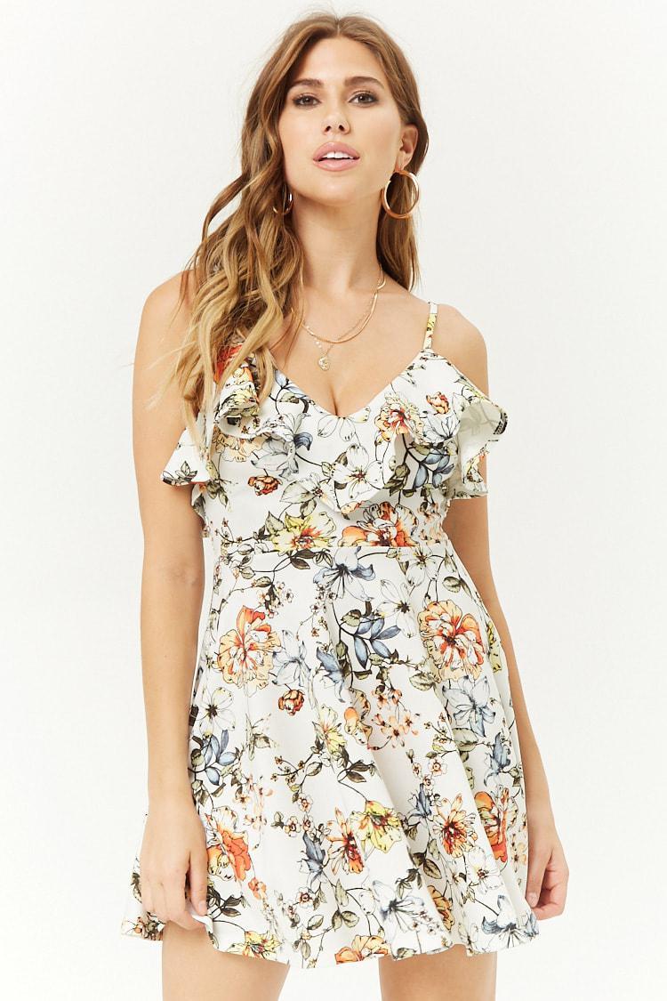 5db2cd5bb7 Lyst - Forever 21 Flounce Floral Print Skater Dress in White