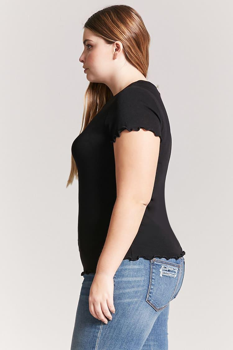 e5a8b9716d3781 Forever 21 Plus Size Knit Lettuce-edge Top in Black - Lyst