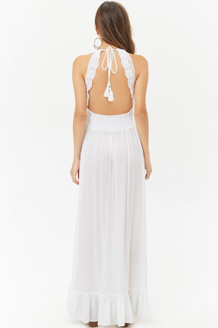 a7f4a56f891d7 Forever 21 Boho Me Crochet-trim Halter Maxi Dress in White - Lyst