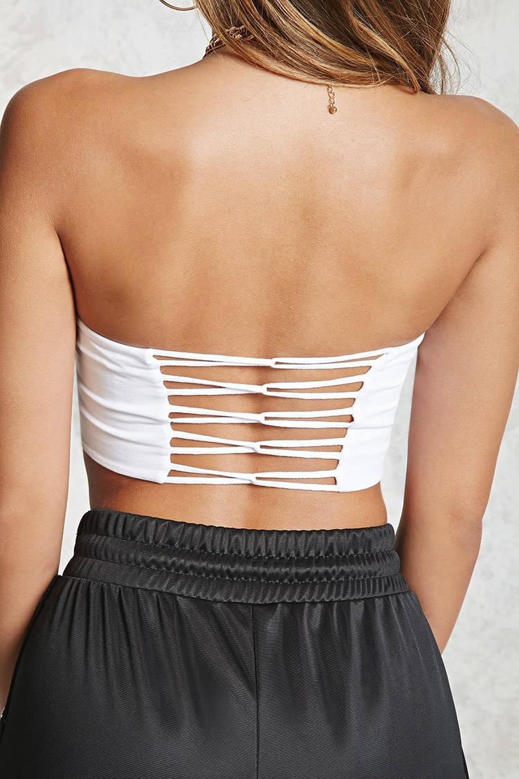 ddbc84fab2f Lyst - Forever 21 Strappy-back Tube Top in White