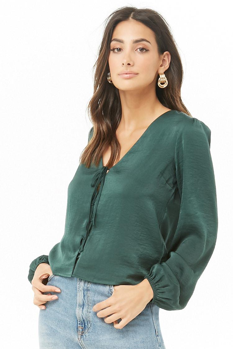 Lyst - Forever 21 Satin Lace-up Top in Green 957f6fa33