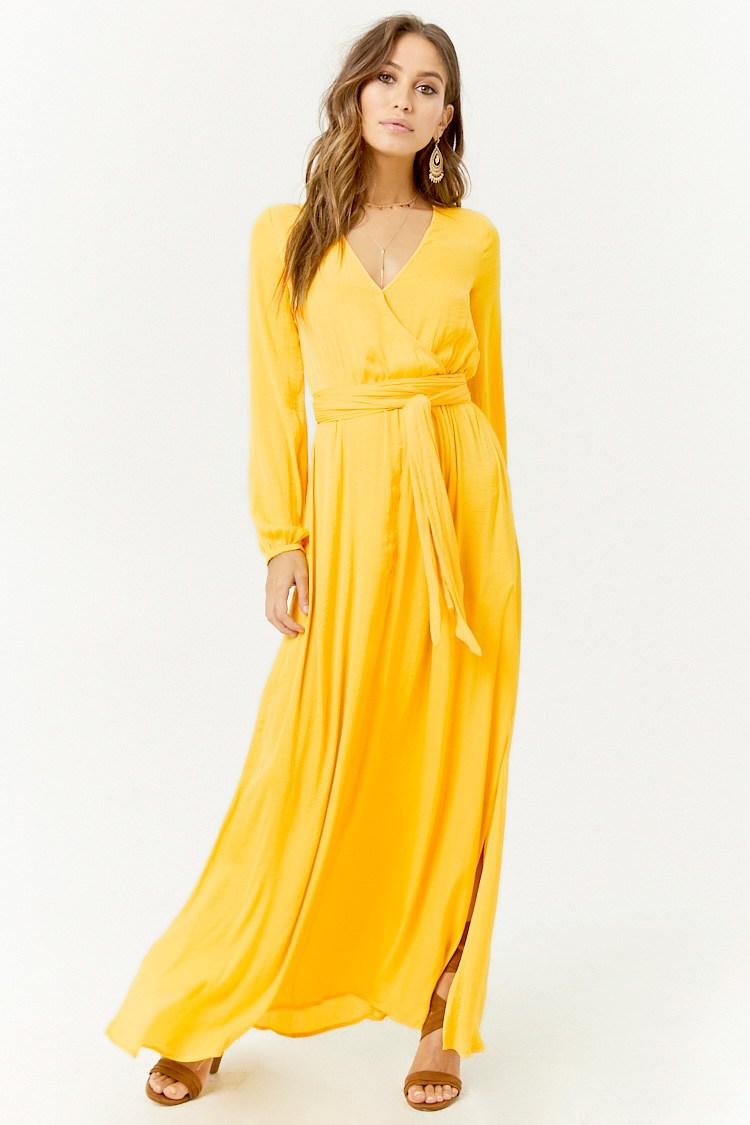 cd7032267f1 Forever 21 Belted Surplice Maxi Dress in Yellow - Lyst