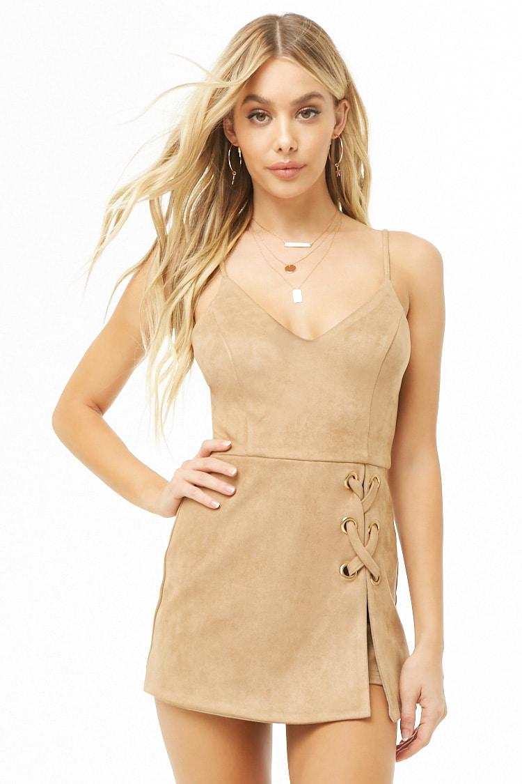 b5cb3715aa1 Lyst - Forever 21 Faux Suede Romper in Natural