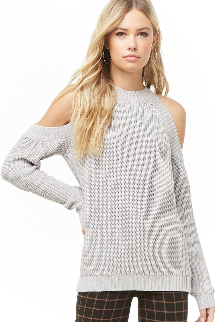 7d43a9a8a54 Lyst - Forever 21 Women's Open-shoulder Knit Sweater in Gray