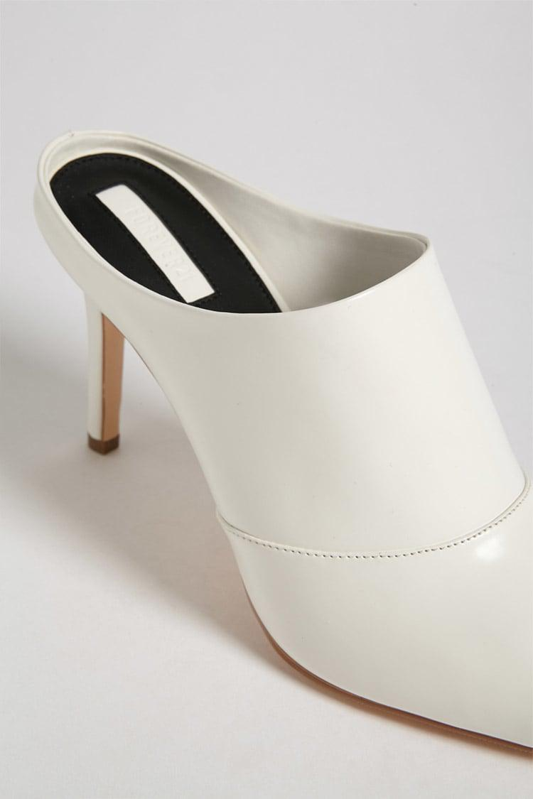 908bb3470e4c7 Forever 21 Faux Patent Leather Stiletto Mules in White - Lyst