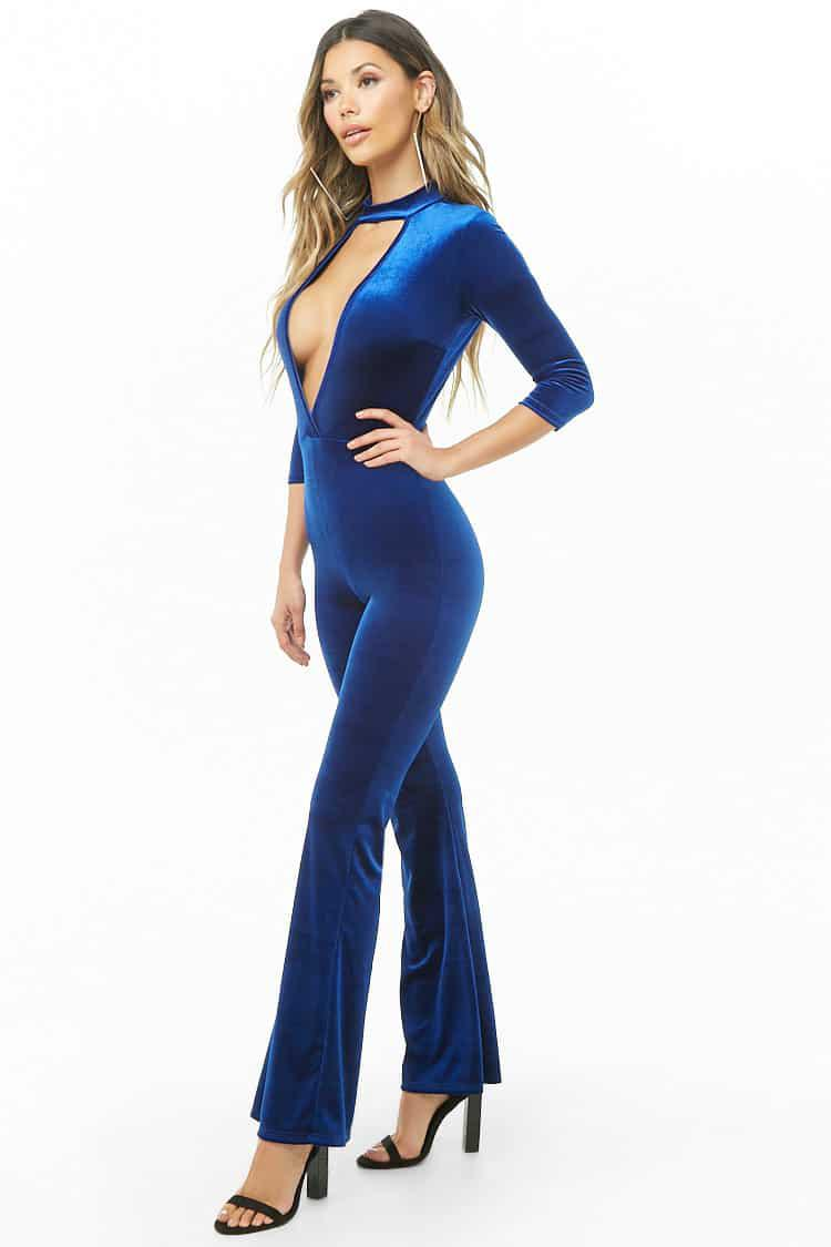 6abc7401bfe17c Lyst - Forever 21 Velvet Cutout Jumpsuit in Blue