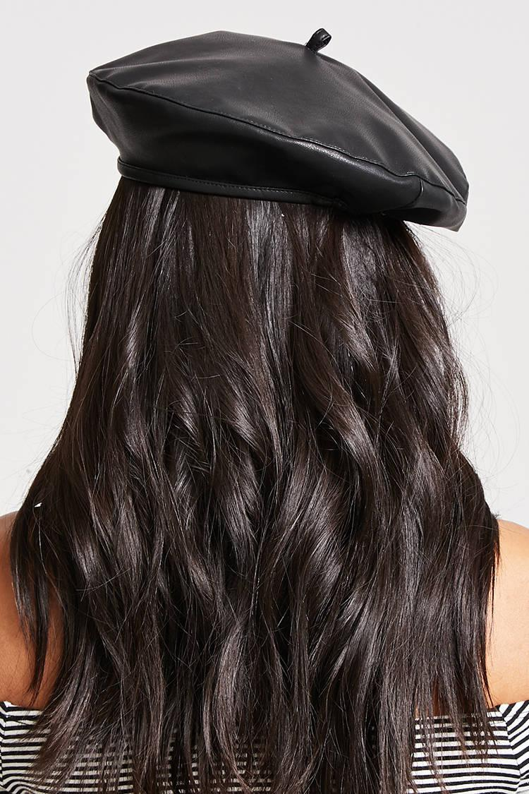 2260bd9697dcb Forever 21 Faux Leather Beret in Black - Lyst