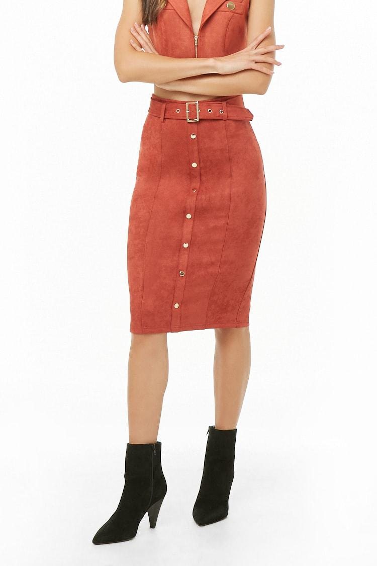 15d4e494aa Forever 21 Faux Suede Button-front Pencil Skirt in Red - Lyst