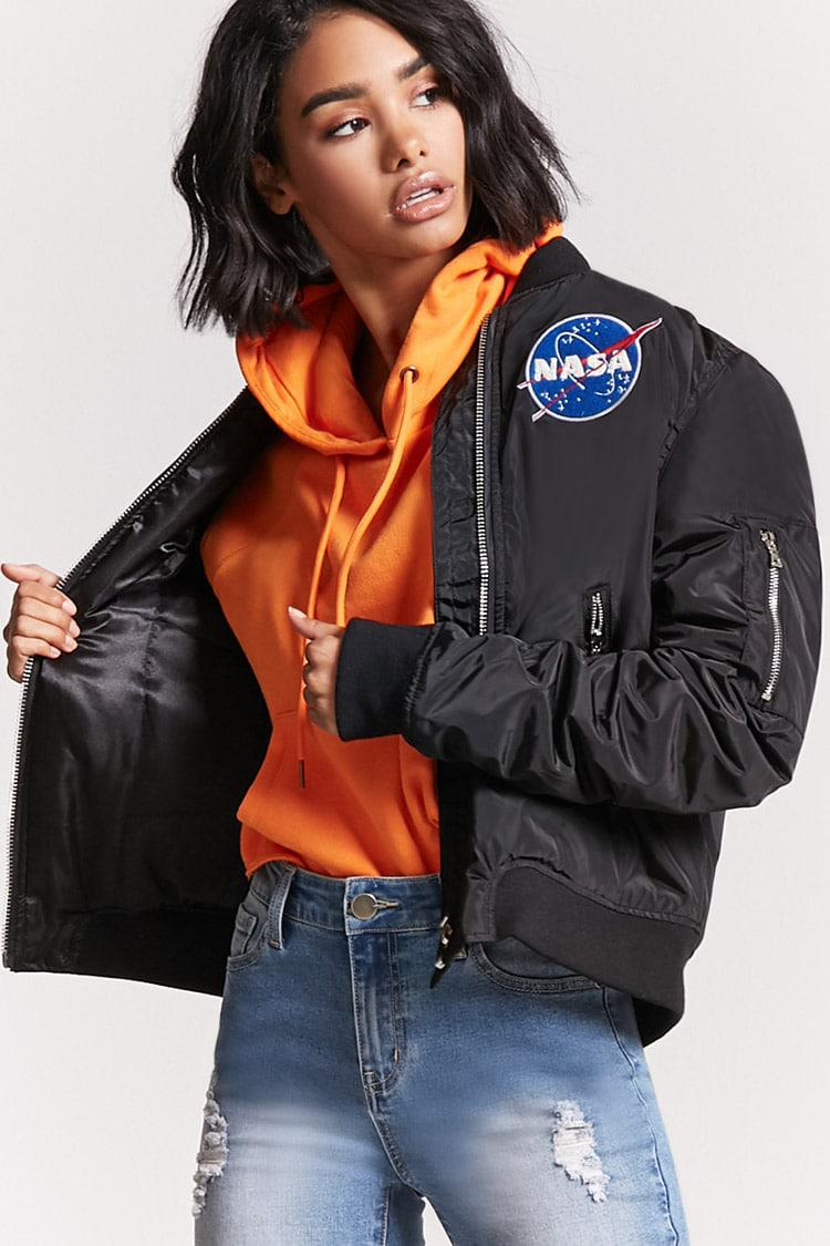 7a7b2a88deff0 Lyst - Forever 21 Nasa Patched Bomber Jacket in Black