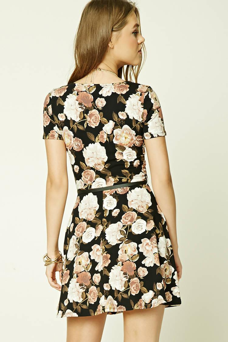 74432e1bc1dea Forever 21 Belted Floral Mini Dress in Black - Lyst