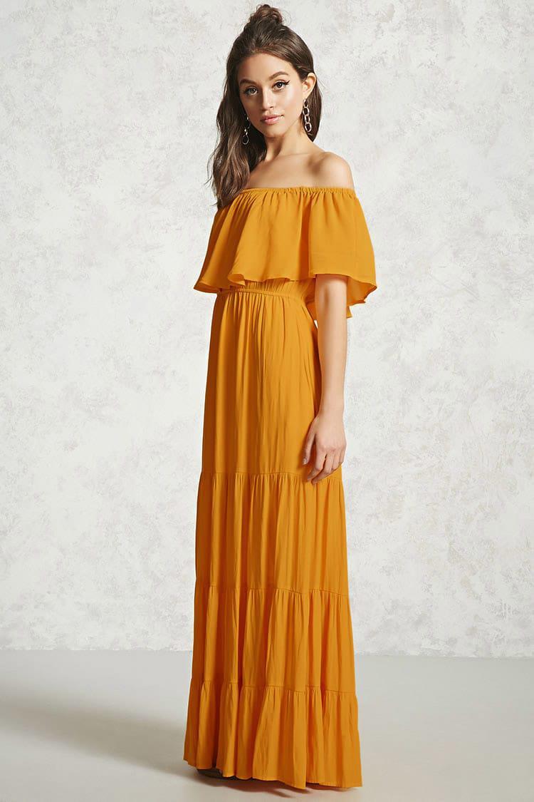 e79224f9023 Forever 21 Off-the-shoulder Maxi Dress in Orange - Lyst