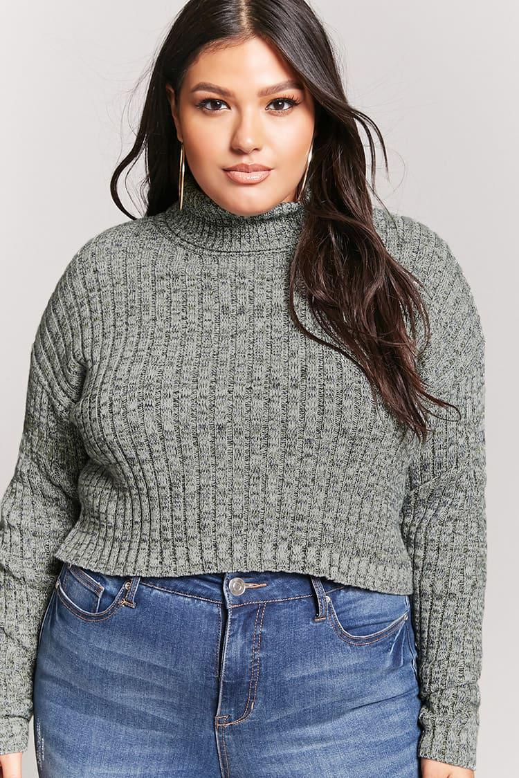 2e3c8b98618 Forever 21 Plus Size Cropped Turtleneck Sweater - Lyst