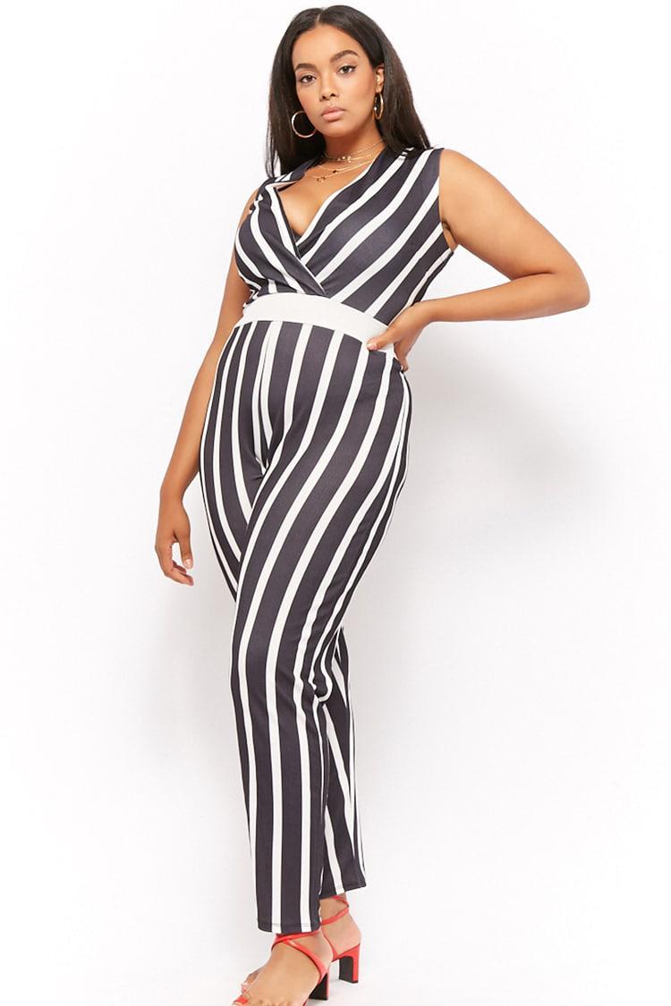538f2a6384c37 Forever 21. Women s Black Plus Size Pink Clove Striped Surplice Jumpsuit