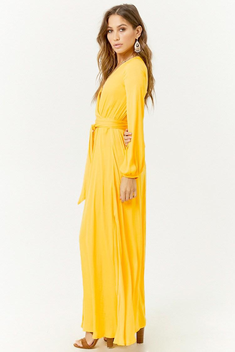 9a7d947052 Forever 21 Belted Surplice Maxi Dress in Yellow - Lyst
