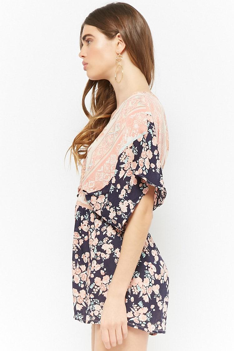 a45f1fdfb8 Lyst - Forever 21 Selfie Leslie Floral Relaxed Romper in Blue