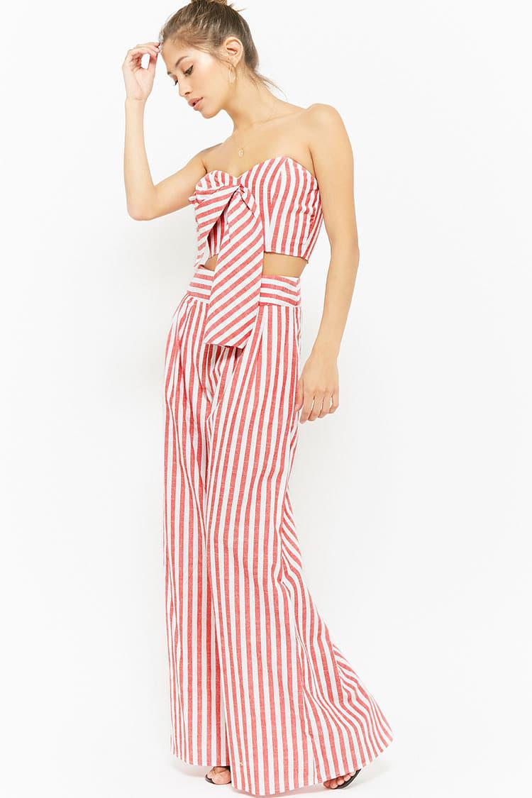 992a18af7a Forever 21 Striped Tie-front Crop Tube Top   Palazzo Trousers Set in ...