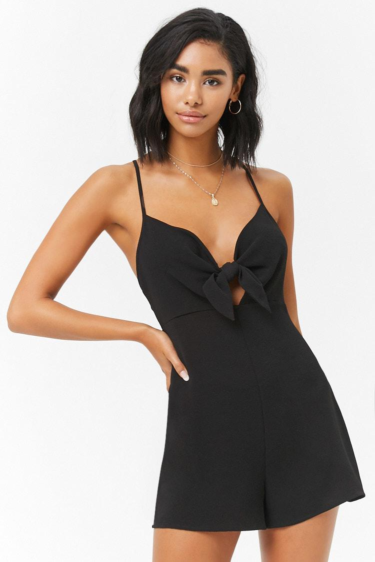 7a00bd6baa8 Lyst - Forever 21 Tie-front Romper in Black