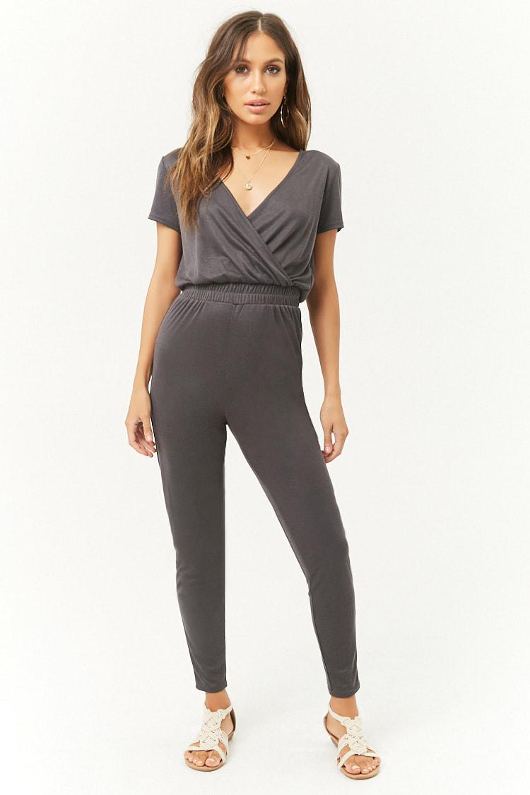 a1677e71ea3f Lyst - Forever 21 Ribbed Surplice Jumpsuit in Black