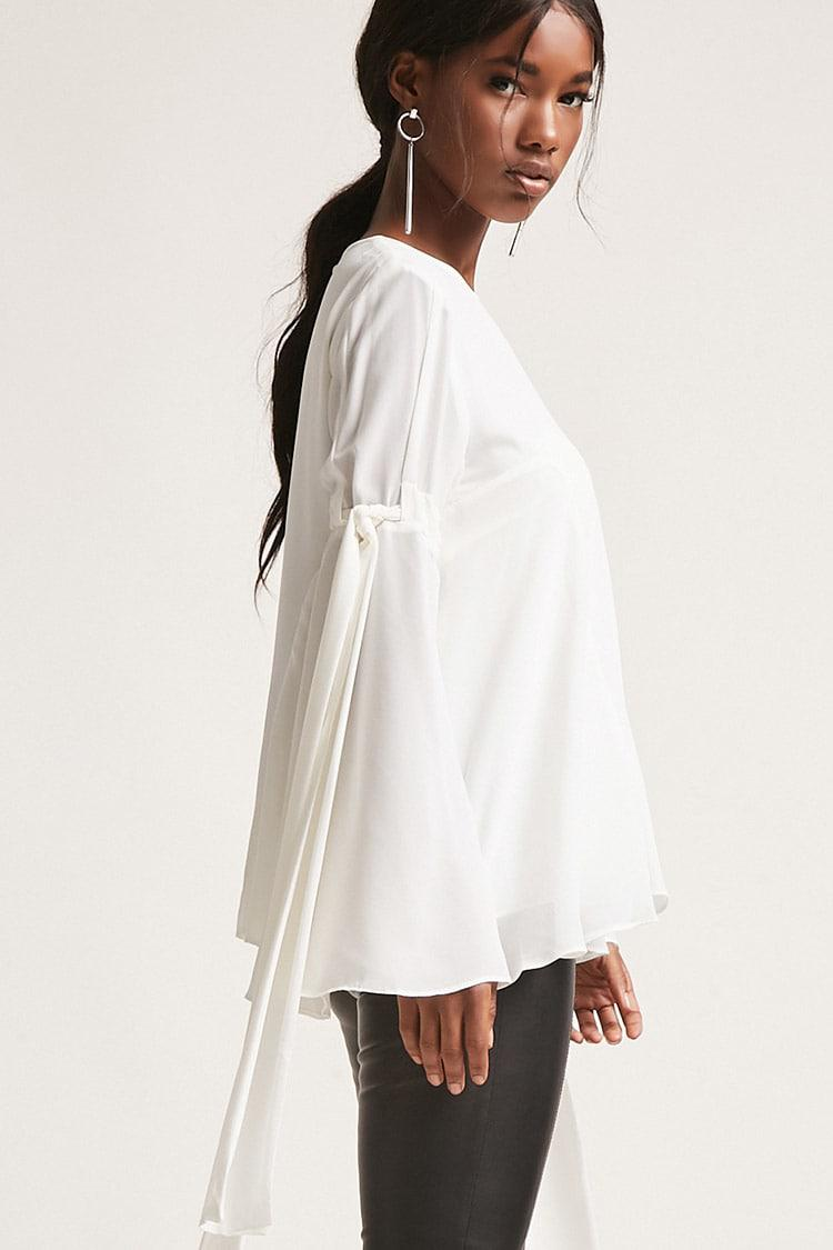 29aee432f7bc4f Lyst - Forever 21 Flowy Bell-sleeve Top in White