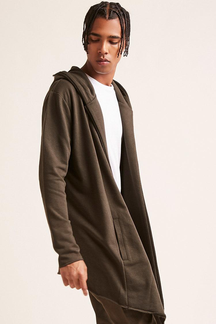2cf996ce804fe2 Forever 21 - Green 's Hooded Open-front Longline Cardigan Sweater for Men  -. View fullscreen