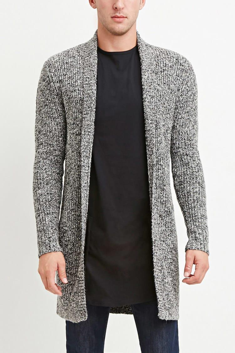 Lyst - Forever 21 Shawl Collar Marled Cardigan in Gray for Men 2f1985a85