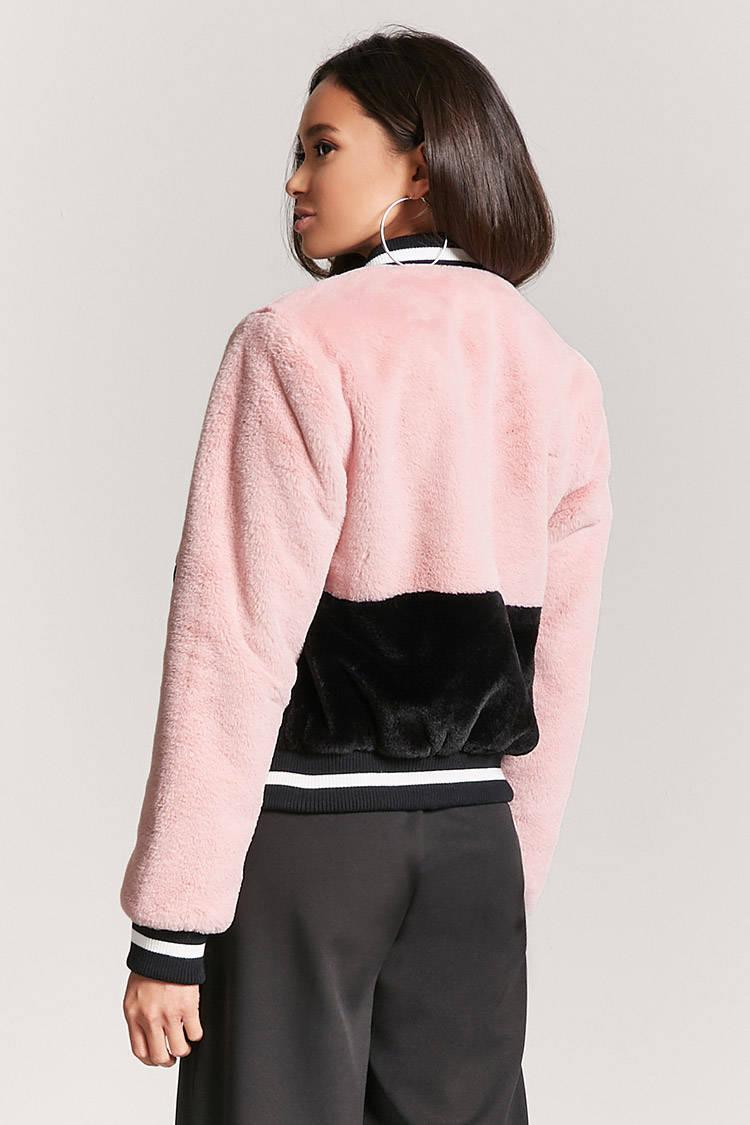 Lyst Forever 21 Colorblock Faux Fur Bomber Jacket In Black