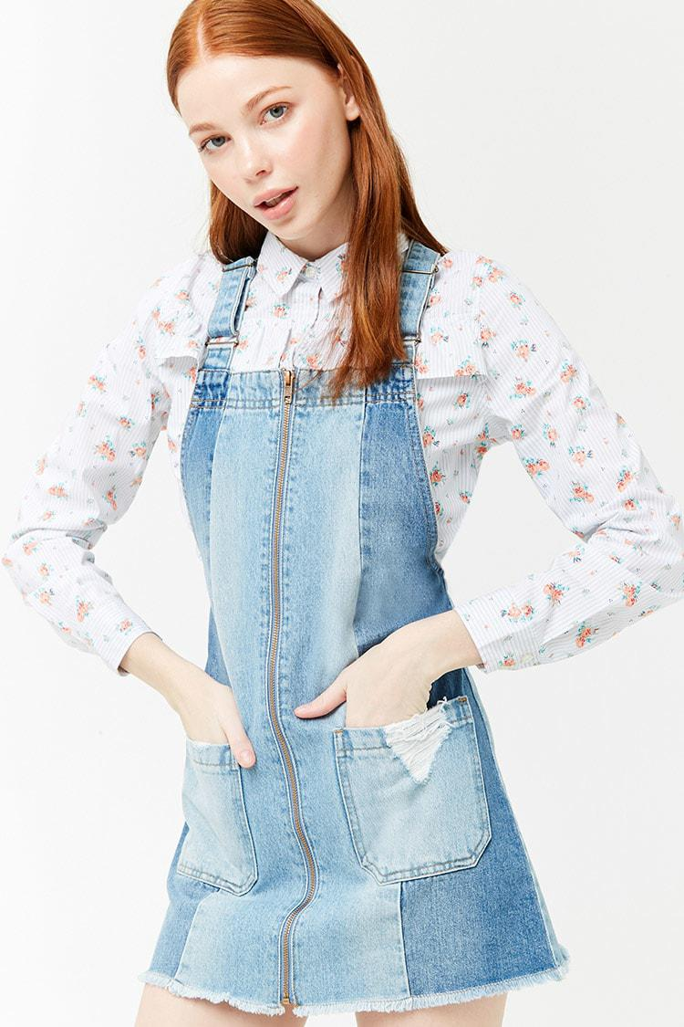80a9b92c67 Forever 21 Women's Denim Panel Dungaree Mini Dress in Blue - Lyst