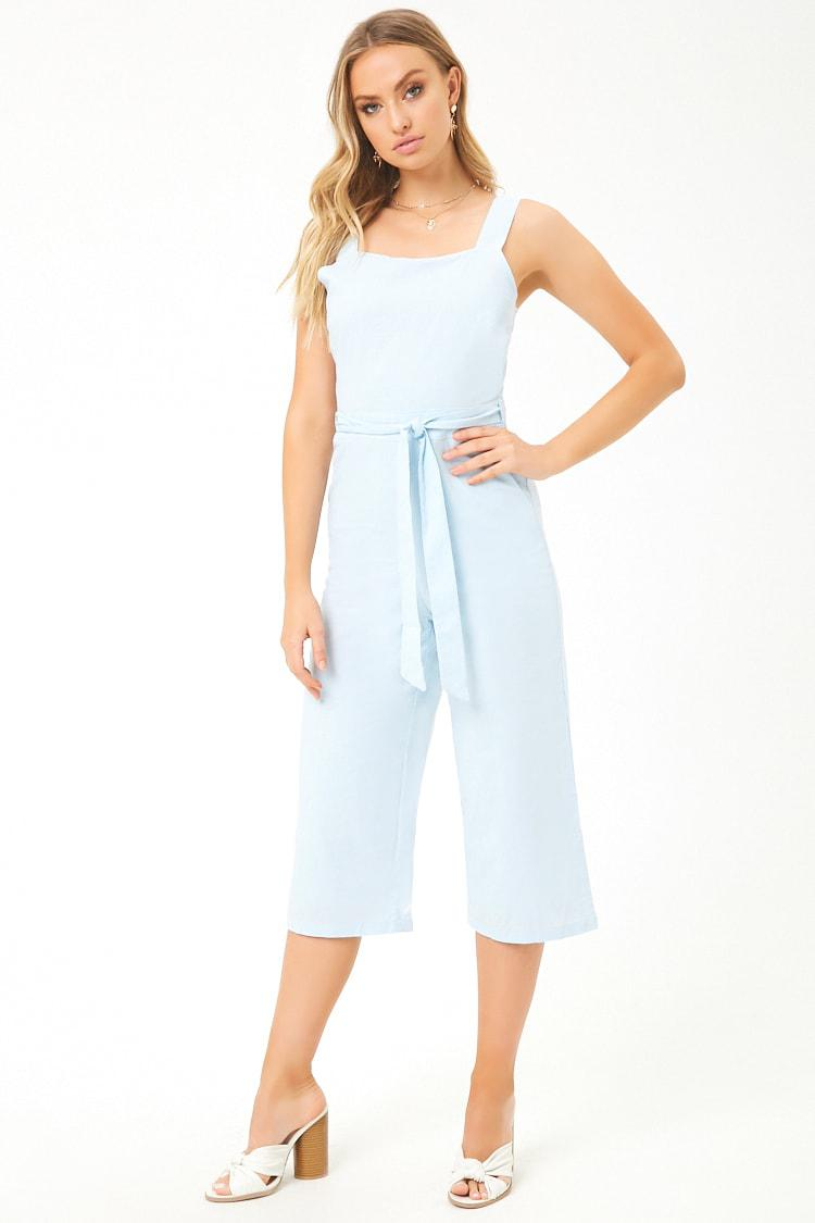 9d3a422fcd Lyst - Forever 21 Tee Ink Linen Culotte Jumpsuit in Blue