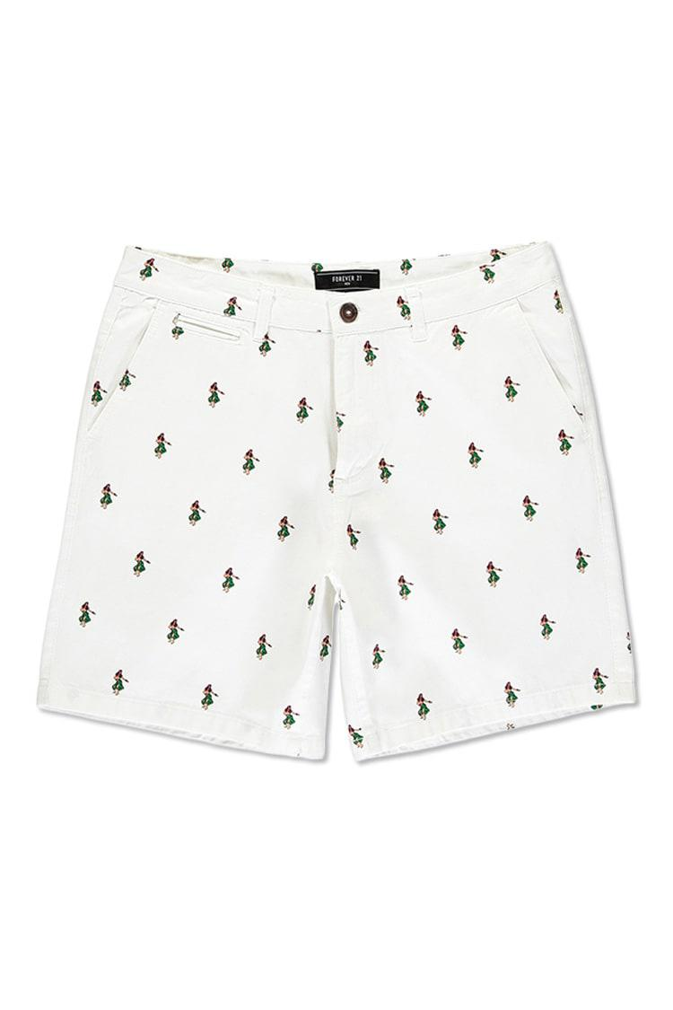 Lyst - Forever 21 Hula Girl Print Shorts in White for Men 93a8b87bf334