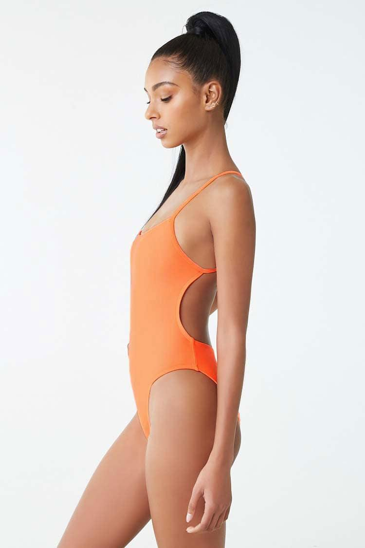 41458daf5e Lyst - Forever 21 Active High-leg One-piece Swimsuit in Orange