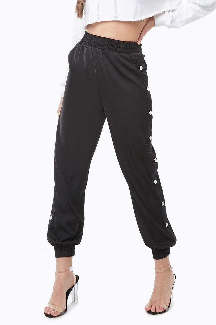 3d000929529d Lyst - Forever 21 Snap-button Elasticized Joggers in Black