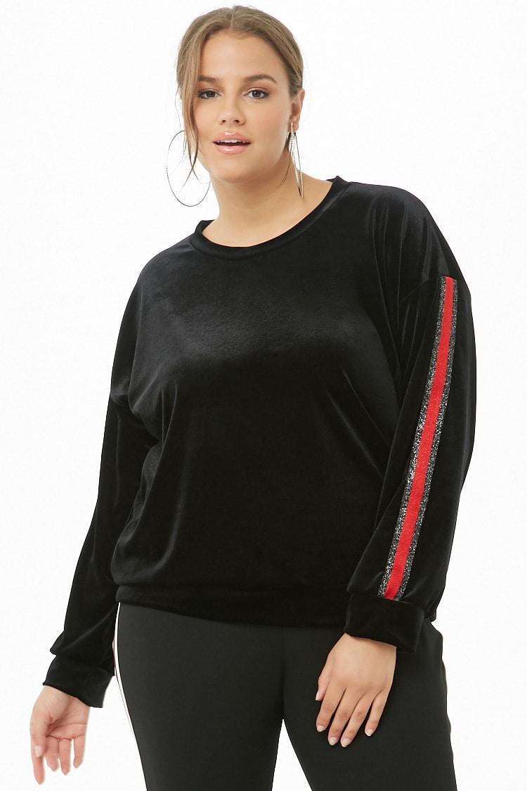 4930b8e93007a7 Forever 21 - Black Women's Plus Size Striped-trim Velvet Top - Lyst. View  fullscreen