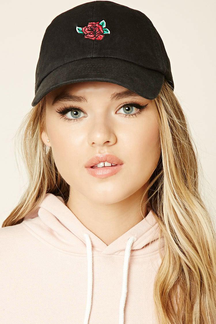 Lyst - Forever 21 Rose Embroidered Dad Cap in Black 9b6fb5c7dc7