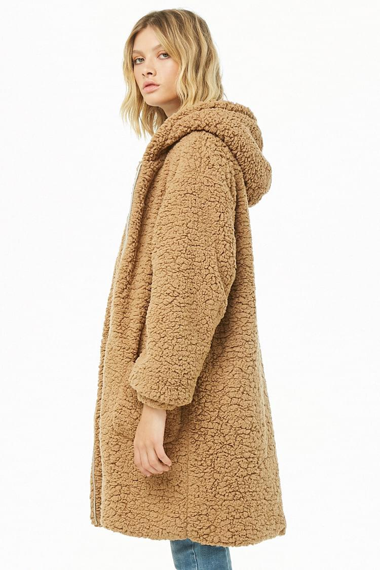 Forever 21 - Brown Woven Heart Hooded Faux Shearling Jacket - Lyst. View  fullscreen ade43f3e00e68