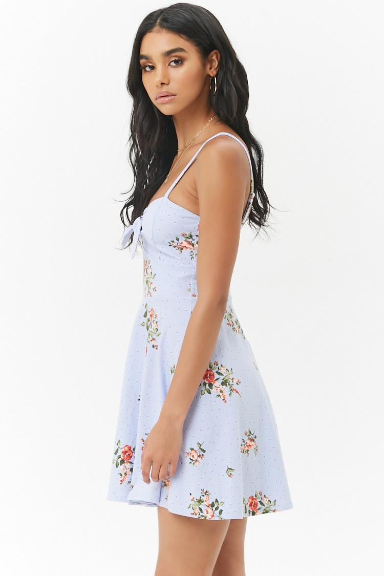 177bfaef0ed Forever 21 Floral Tie-front Fit   Flare Mini Dress in Blue - Lyst